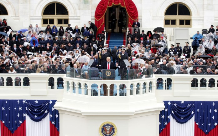 WASHINGTON, DC - JANUARY 20: President Donald Trump delivers his inaugural address on the West Front of the U.S. Capitol on January 20, 2017 in Washington, DC. In today's inauguration ceremony Donald J. Trump becomes the 45th president of the United States.   Alex Wong/Getty Images/AFP