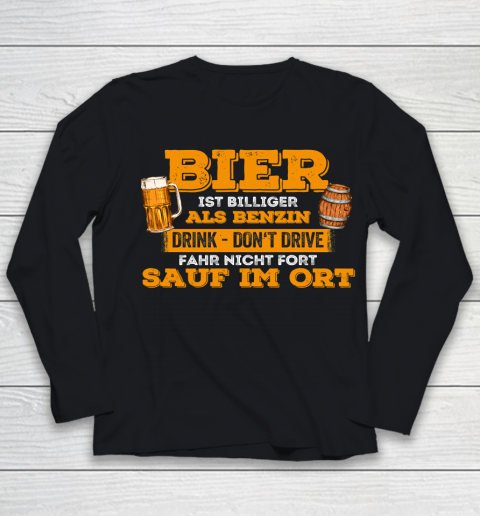Beer Lover Funny Shirt Beer Cheaper Than Gasoline Drinking Alcohol Drinking Party Youth Long Sleeve