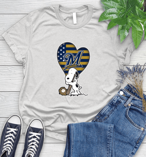 Milwaukee Brewers MLB Baseball The Peanuts Movie Adorable Snoopy (1) Women's T-Shirt