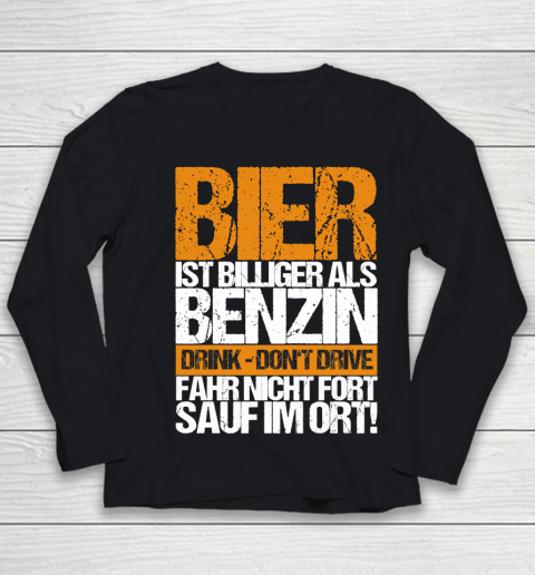 Beer Lover Funny Shirt Beer Cheaper Than Gasoline Drinking Alcohol Drinking Party Saying Youth Long Sleeve