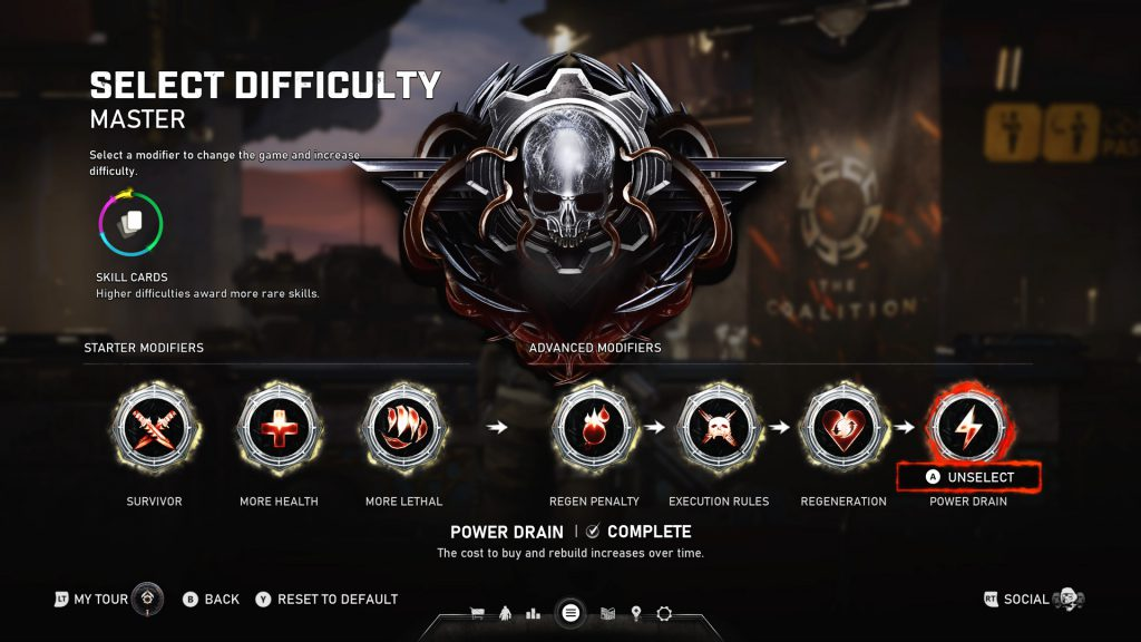 A select difficulty screen showing 7 activated mutators