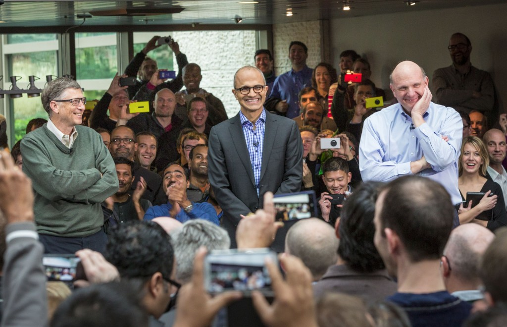 Gates joined new Microsoft CEO Satya Nadella and former CEO Steve Ballmer at Microsoft last week.