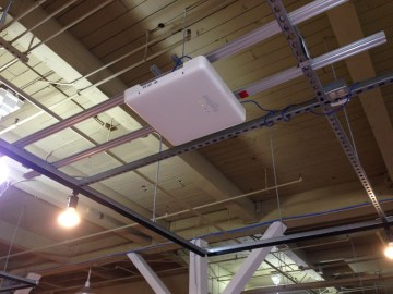 The xArray attaches to a ceiling and pinpoints where products are located that have RFID tags.