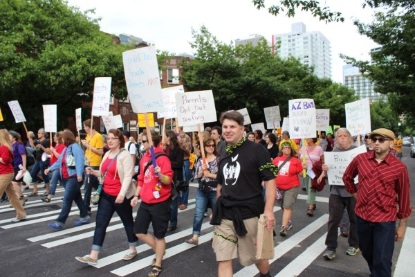 Teachers Protest In Downtown Seattle Bill Gates
