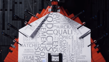 Robotic Lego paper airplane factory folds, launches and amazes
