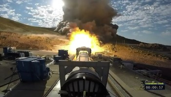 SLS solid-rocket booster firing