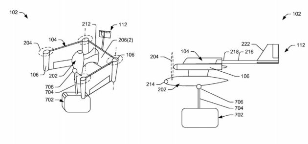 Amazon Patents In-Flight Transformer Drones