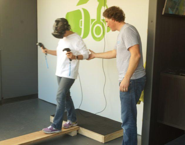 VR newbie walks the plank