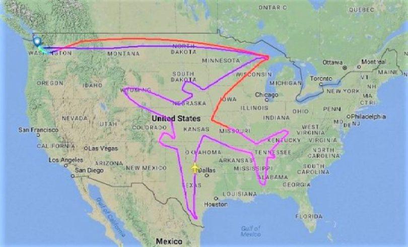 170803 dreamliner outline1 630x381 - Boeing foi testar avião e ao invés de voar aleatório fez esta rota...