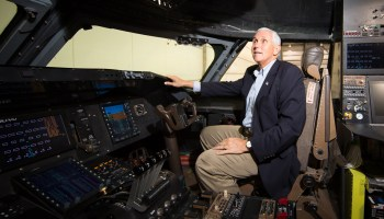 VP Mike Pence visits Virgin Galactic and Stratolaunch space ventures in Mojave