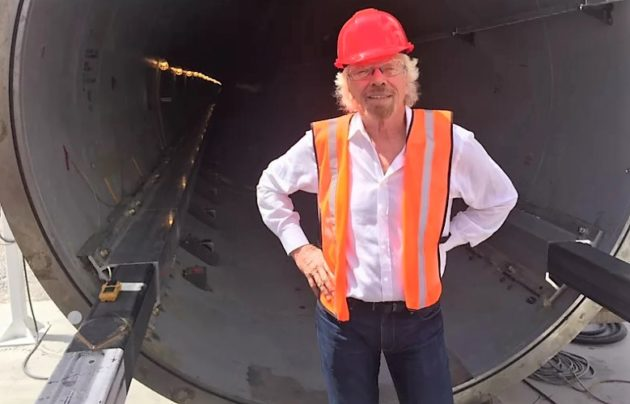 Richard Branson at Hyperloop One track
