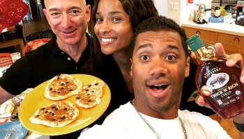 Jeff Bezos spends rainy Seattle day whipping up pancakes for Ciara and Russell Wilson
