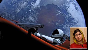 Starman Tesla Roadster and Malala