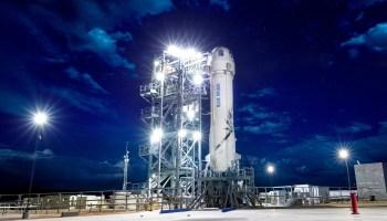Blue Origin's New Shepard spaceship on pad