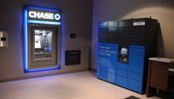 Spotted: Rare blue Amazon locker inside Chase Bank signals tech giant's latest physical expansion