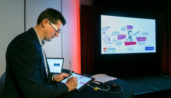 Extreme doodling! GeekWire Summit's 'graphic facilitator' illustrates how listening can be an art