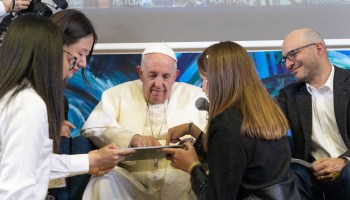 Pope Francis taps into tech's higher power and helps write code alongside Code.org founder