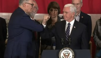 Washington Gov. Inslee cuts coronavirus costs — and meets with VP Mike Pence