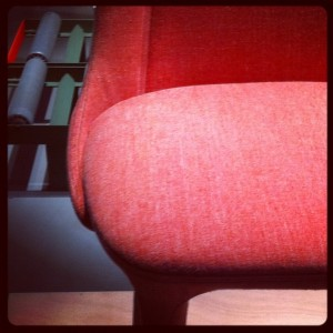The trendiest colour, salmon - here a chair by Luca Nichetto for Casamania @ iSaloni