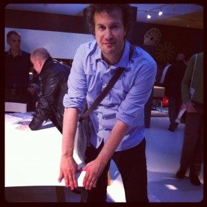 The entrepreneur who never disappoints, Daniele Lago (here with his bendable table) @ iSaloni