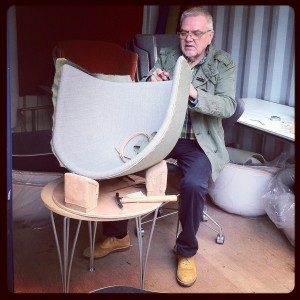 The crafiest: a Fritz Hansen maestro working on Cecilie Manz's Minuscule chair @ Fritz Hansen showroom, Corso Garibaldi