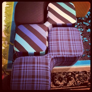 Best fabrics - by Sonia Rykiel Maison on Cédric Ragot's pouf Bi-Pod for Roche Bobois @ iSaloni