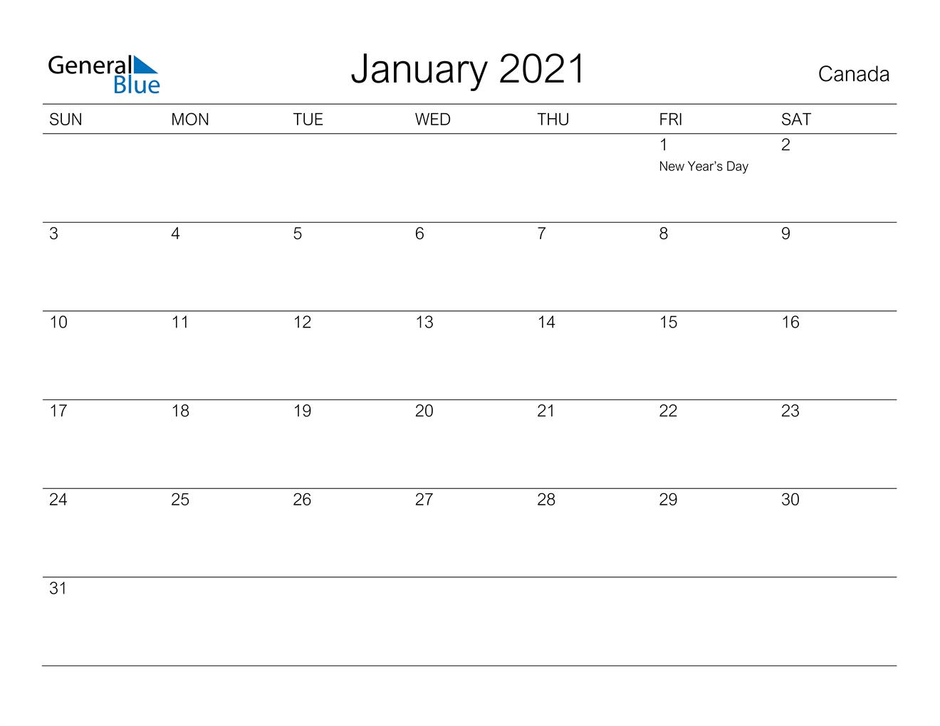 January 2021 Calendar - Canada
