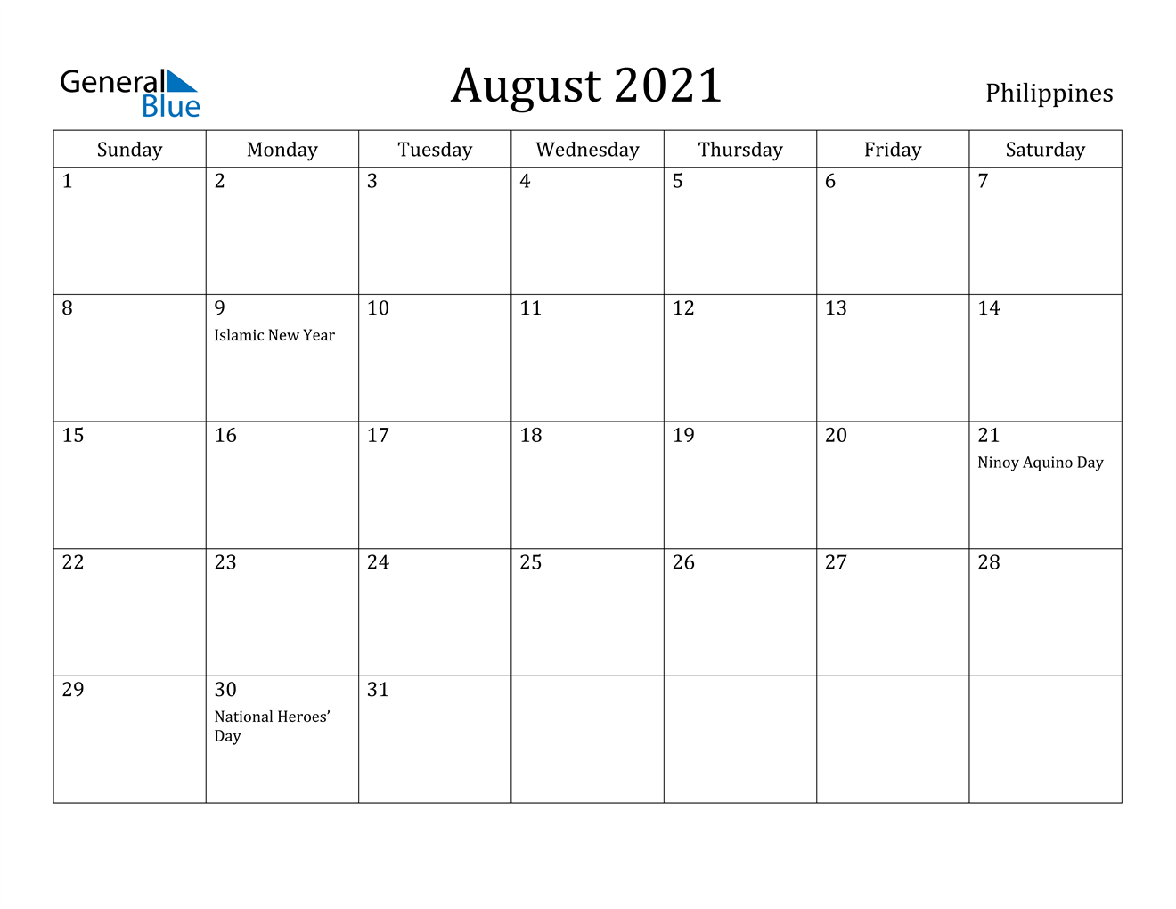 August 2021 Calendar - Philippines