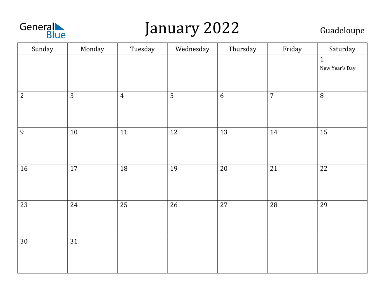 January 2022 Calendar - Guadeloupe