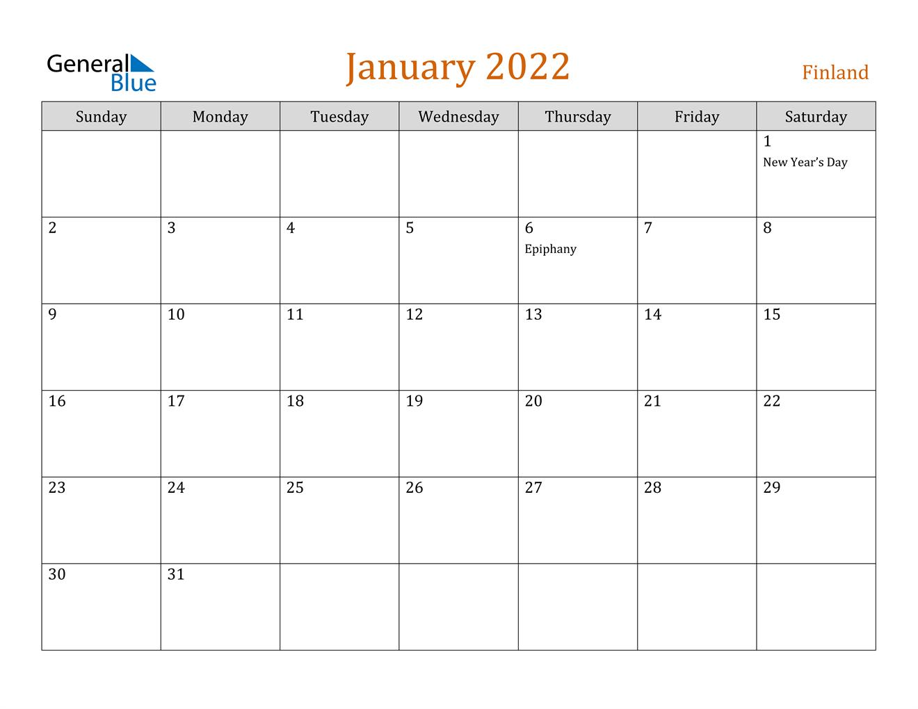 January 2022 Calendar - Finland