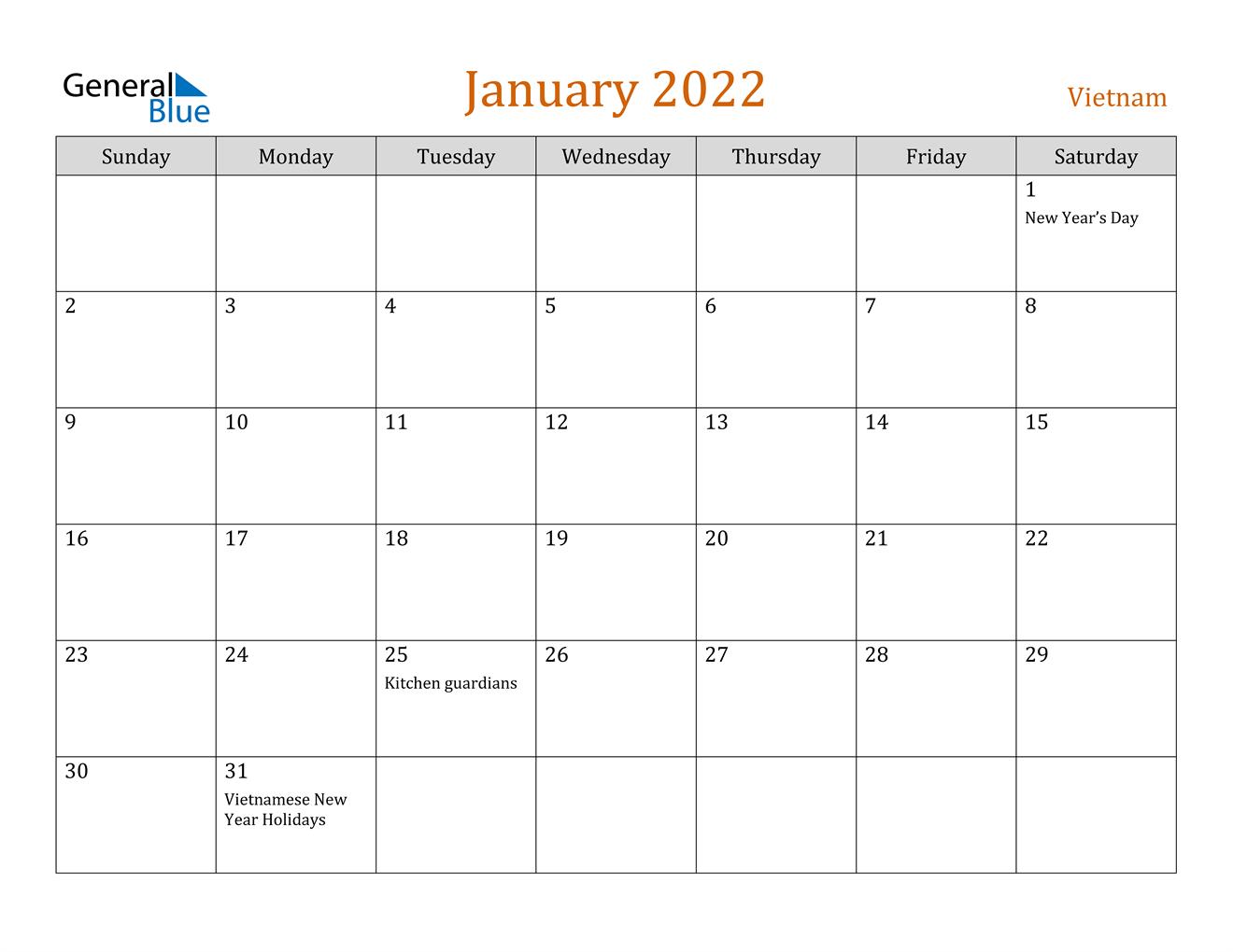 January 2022 Calendar - Vietnam