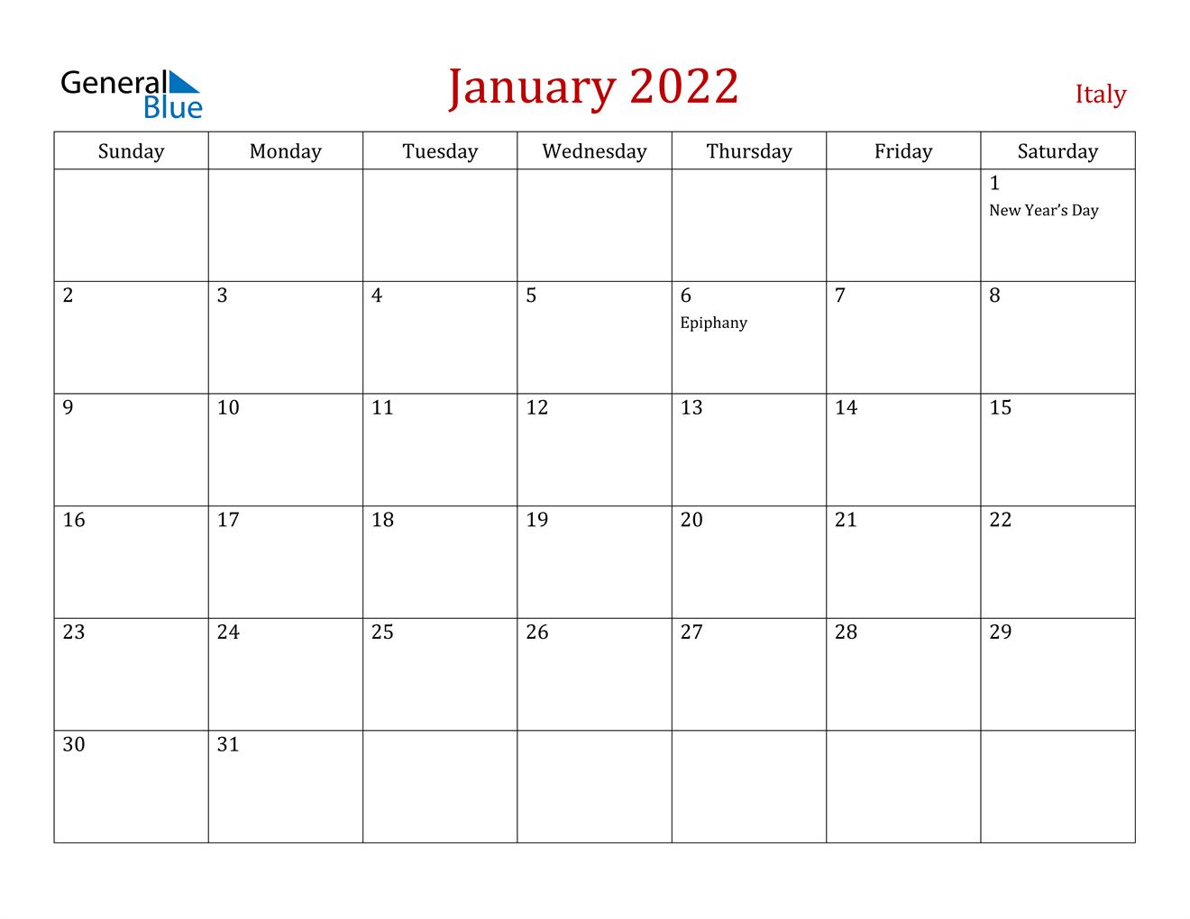 January 2022 Calendar - Italy