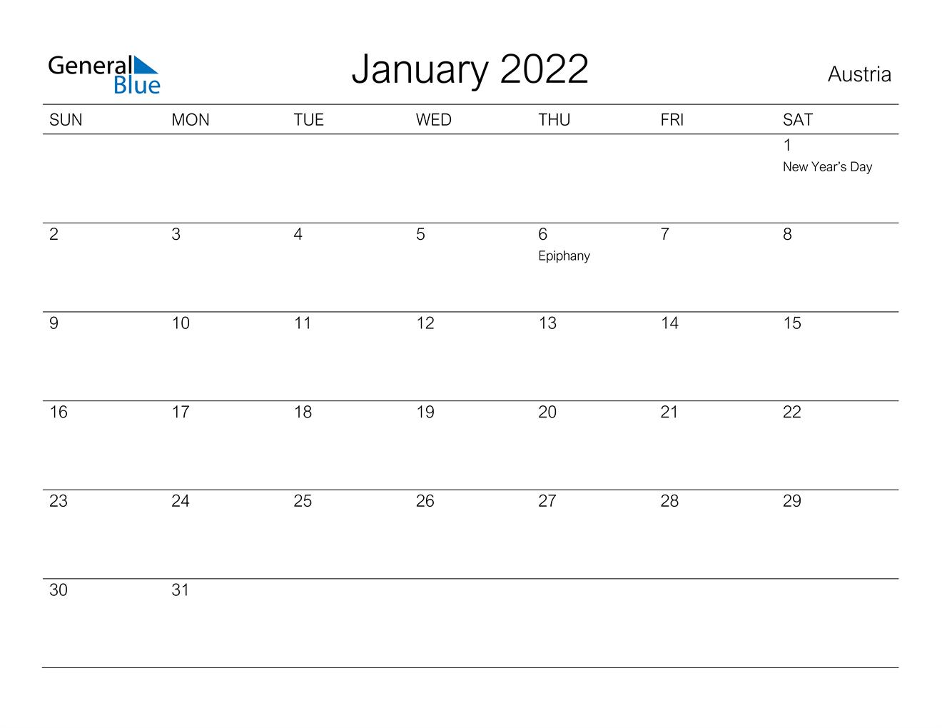 January 2022 Calendar - Austria