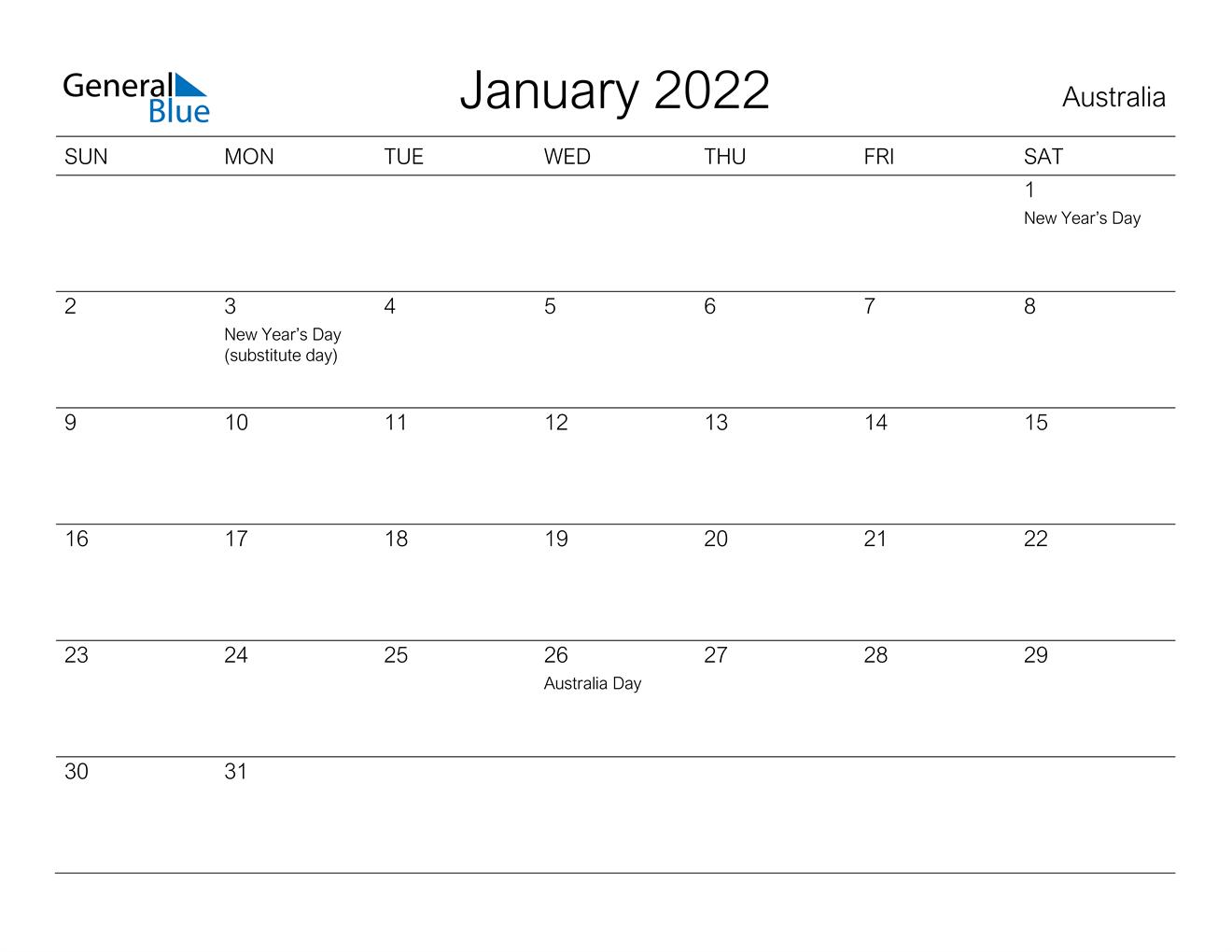 January 2022 Calendar - Australia