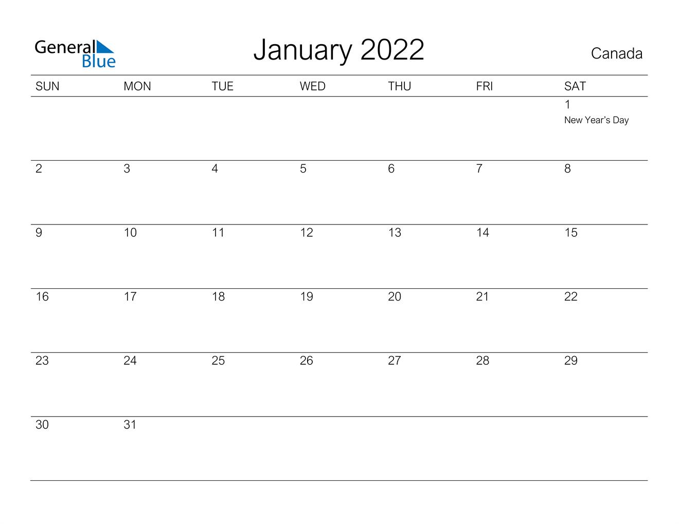 Canada January 2022 Calendar with Holidays