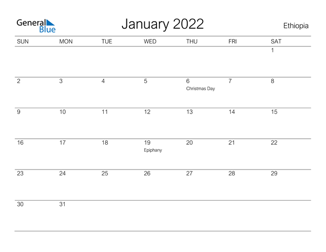 Our modern spin on the advent calendar is a nod to the natural surfaces you'd encounter in a home: Ethiopia January 2022 Calendar With Holidays