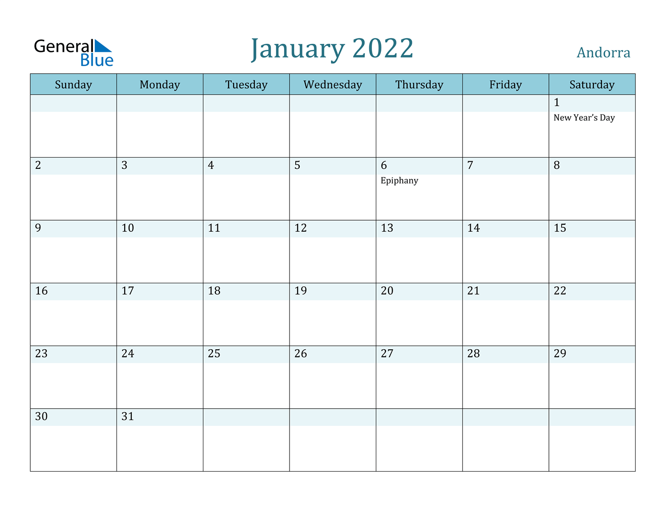 This january calendar is available in word format (.docx) then you can easy to edit before printing. Andorra January 2022 Calendar with Holidays