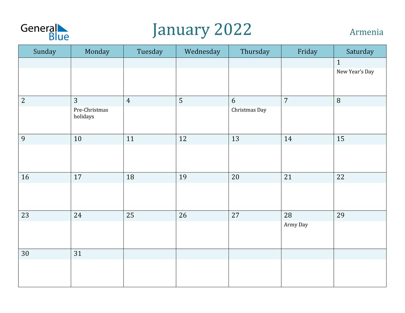 January 2022 Calendar - Armenia