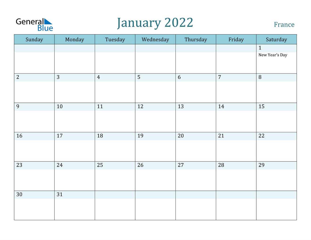 January 2022 Calendar - France