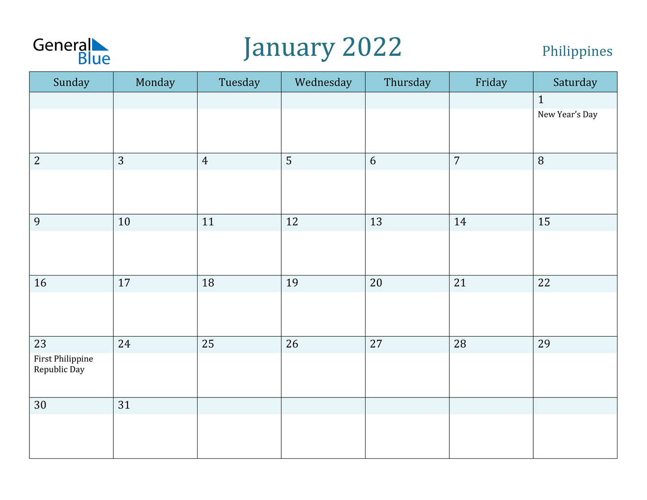 January 2022 Calendar - Philippines