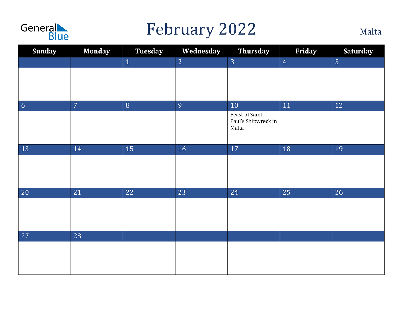 February 2022 Calendar - Malta