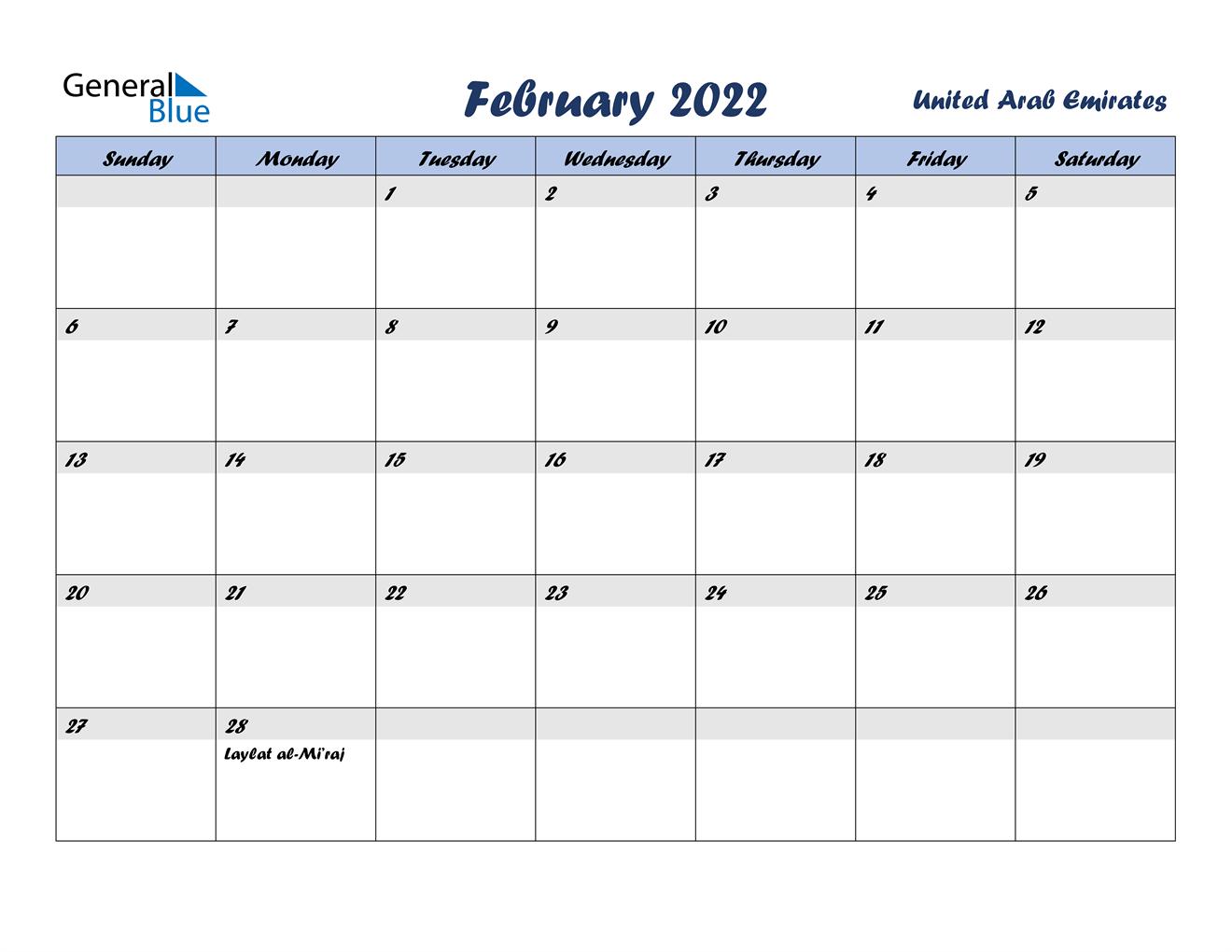 February 2022 Calendar - United Arab Emirates