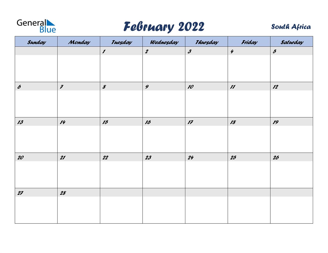 February 2022 Calendar - South Africa