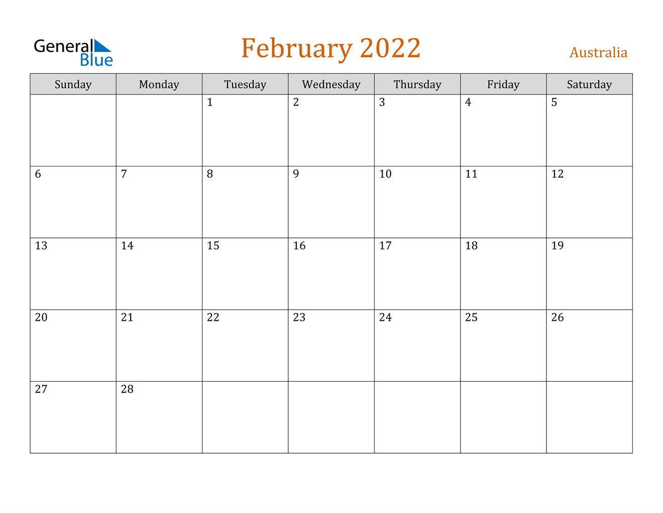February 2022 Calendar - Australia