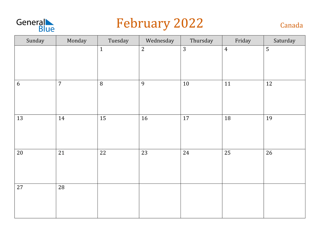 February 2022 Calendar - Canada
