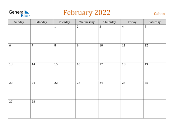 February 2022 Calendar - Gabon