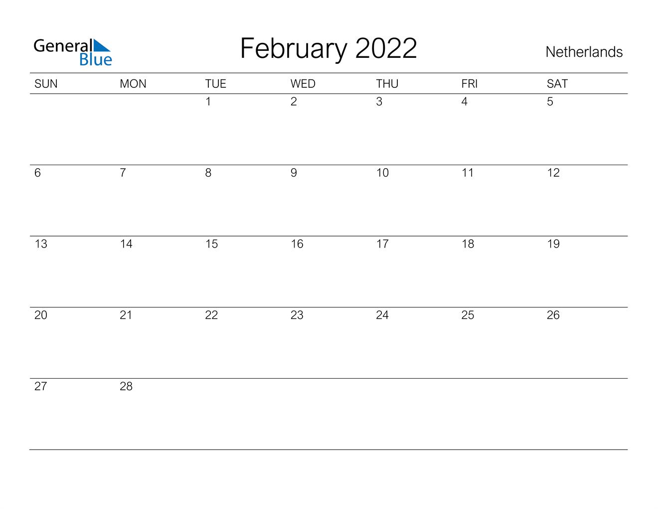February 2022 Calendar - Netherlands