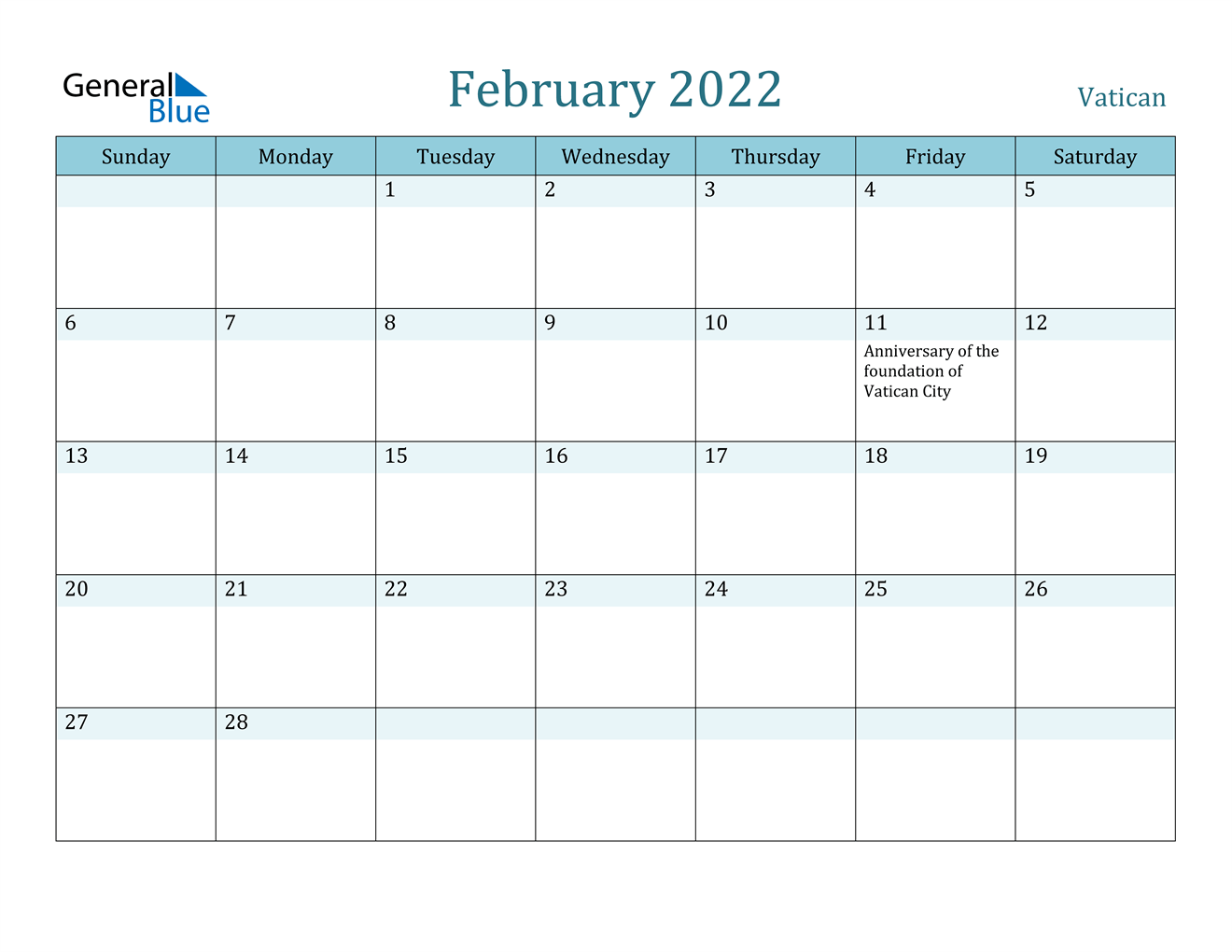 February 2022 Calendar - Vatican