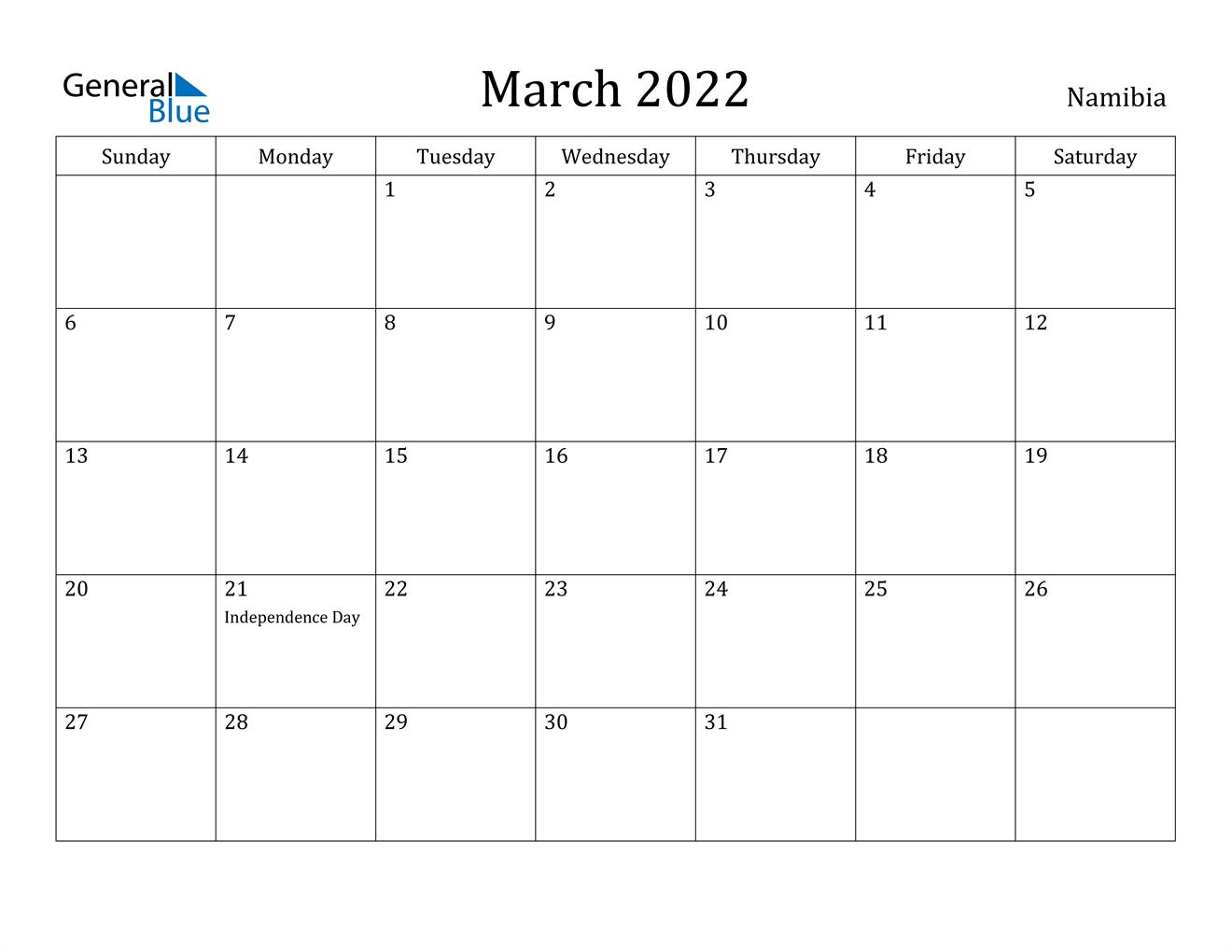 March 2022 Calendar - Namibia