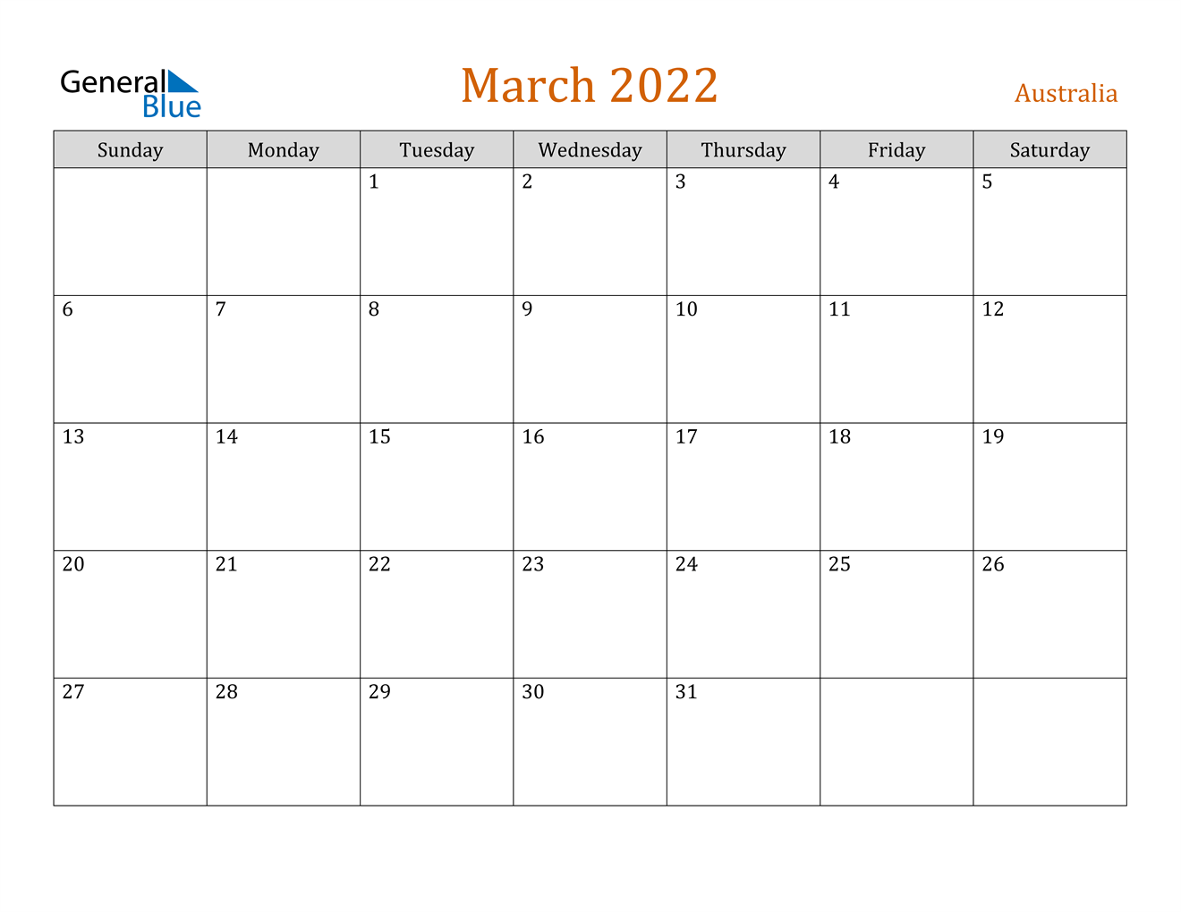 March 2022 Calendar - Australia